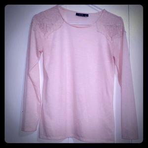 Pink Long Sleeve Top Sz S with Lace Shoulders.